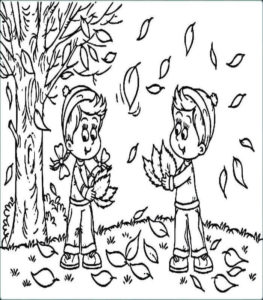 Children With Fall Leaves Coloring Page