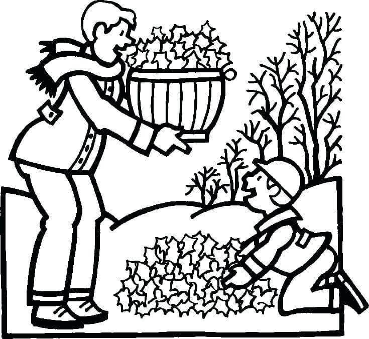 Fall Leaf Raking Coloring Page