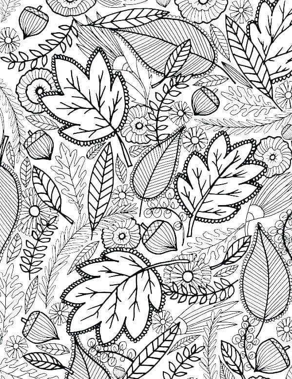 Fall Leaves Coloring Pages For Adults