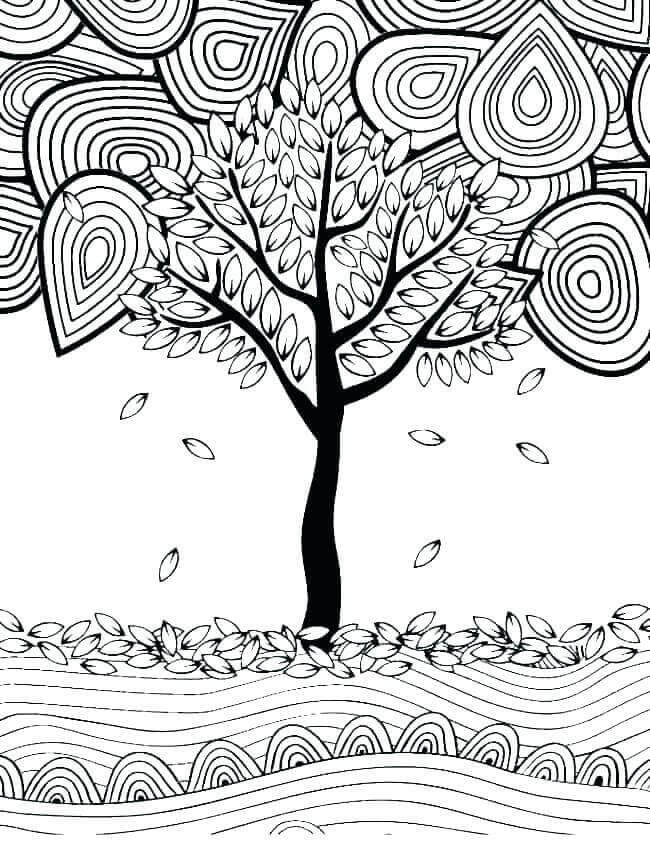Fall Leaves Colouring Pages For Adults
