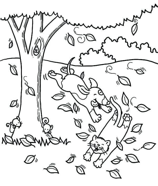 Fall Tree And Leaf Coloroing Page
