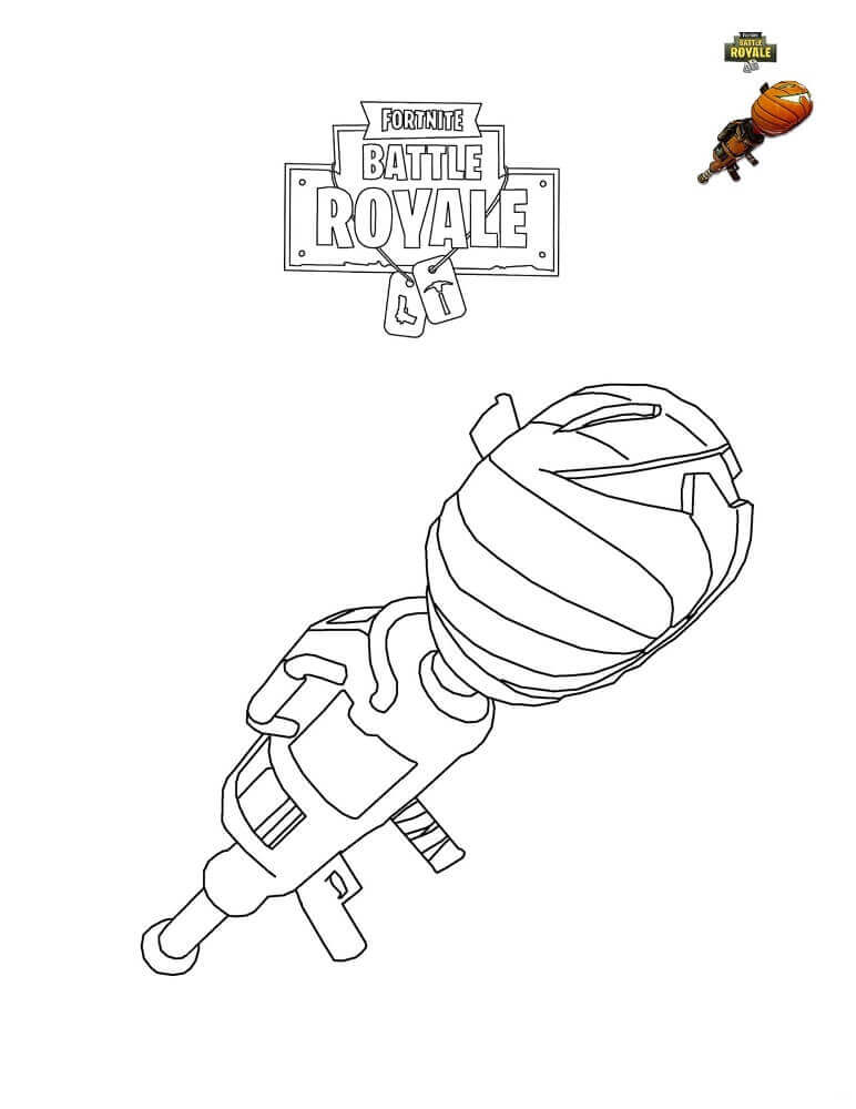 Fortnite Coloring Pages Pumpkin Launcher