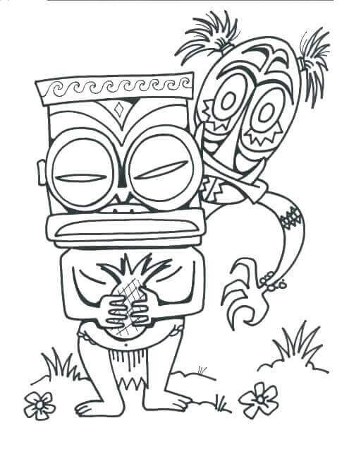 Hawaiian Tiki Masks Coloring Page - Free Coloring Pages Online | 640x495