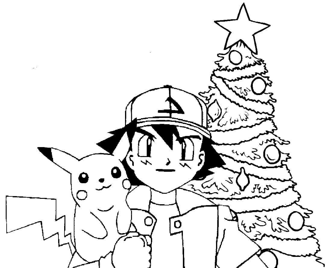 Pikachu Christmas Coloring Pages