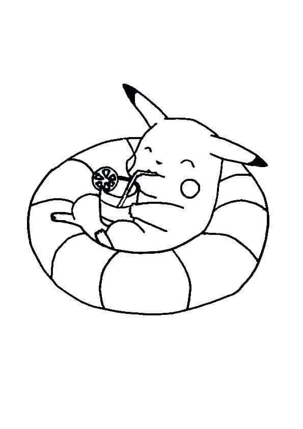Pikachu Enjoying Pokemon Coloring Pages