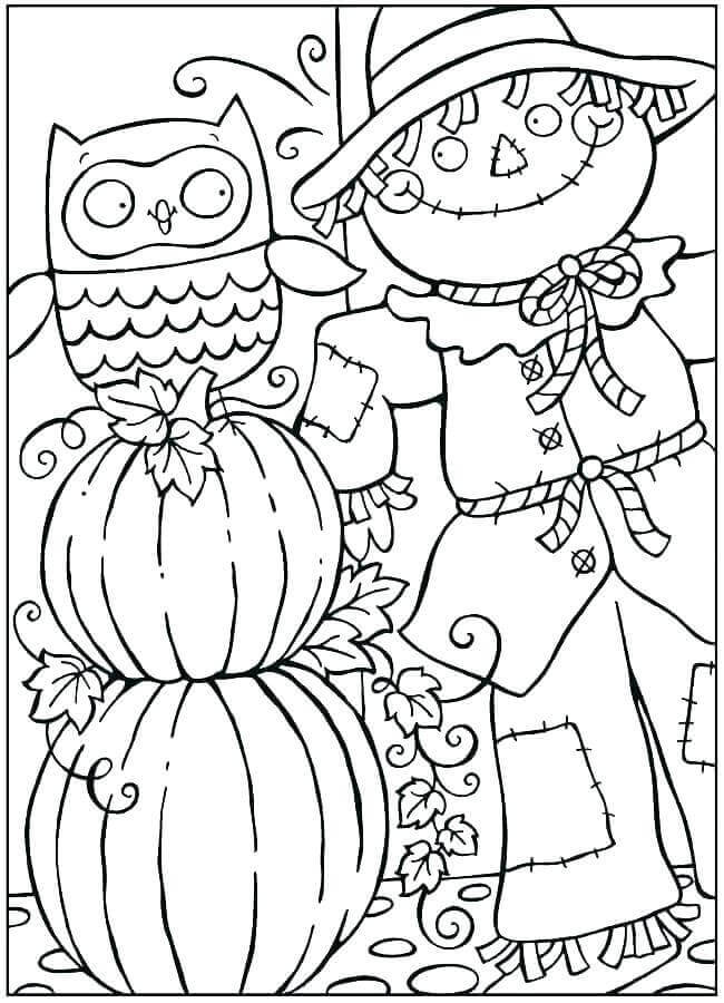 Scarecrow Pumpkin And Fall Leaves Coloring Images