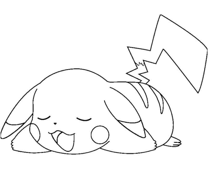 Sleepy Pikachu Coloring Pages