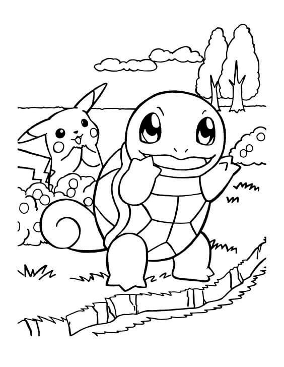 Squirtle And Pikachu Coloring Pages
