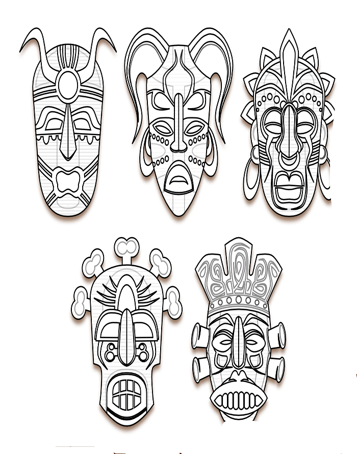 Tiki Mask Cutout Printables