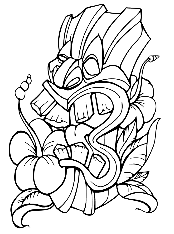 Tiki Masks Coloring Pages Printable