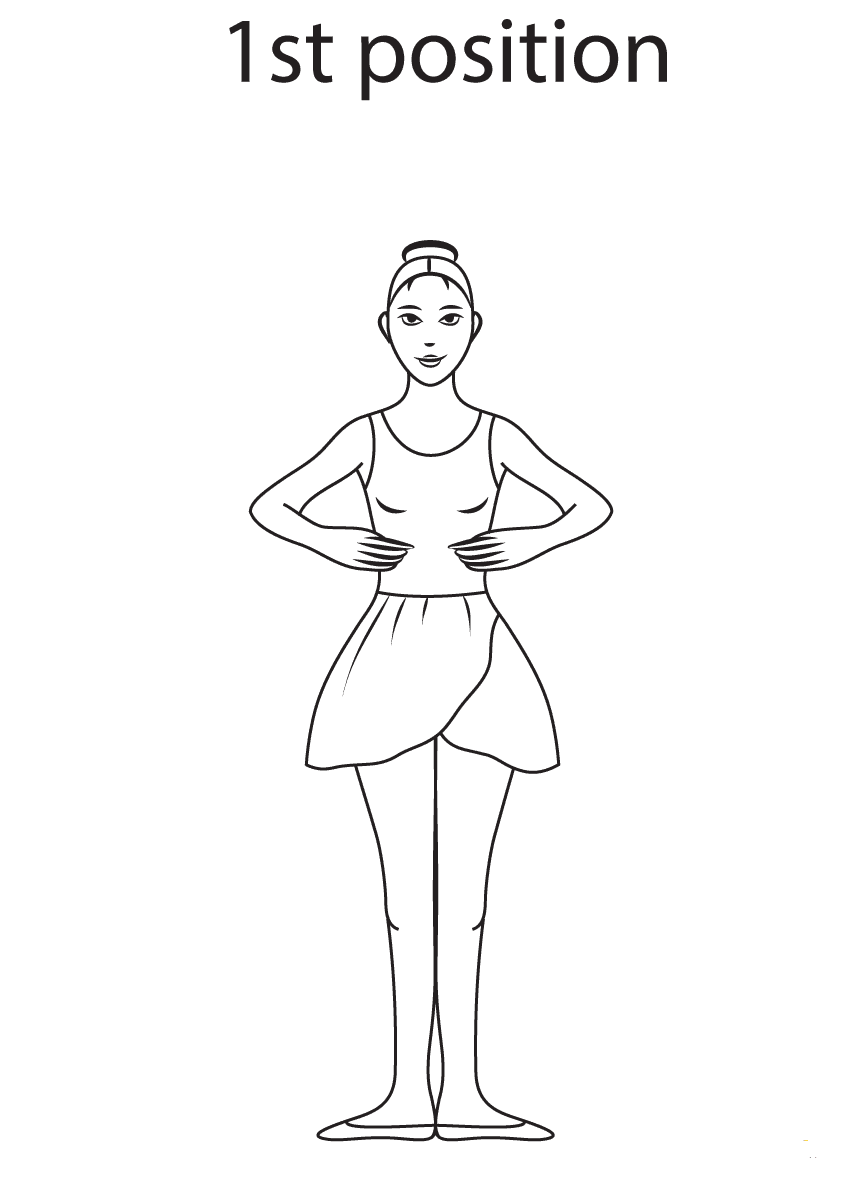 Ballet 1st Position Coloring Page