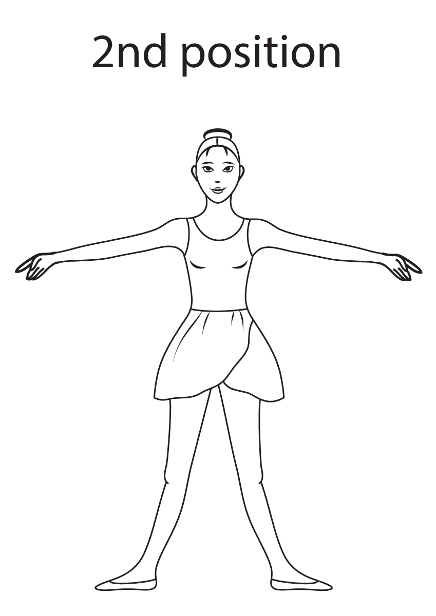 Ballet 2nd Position Coloring Page