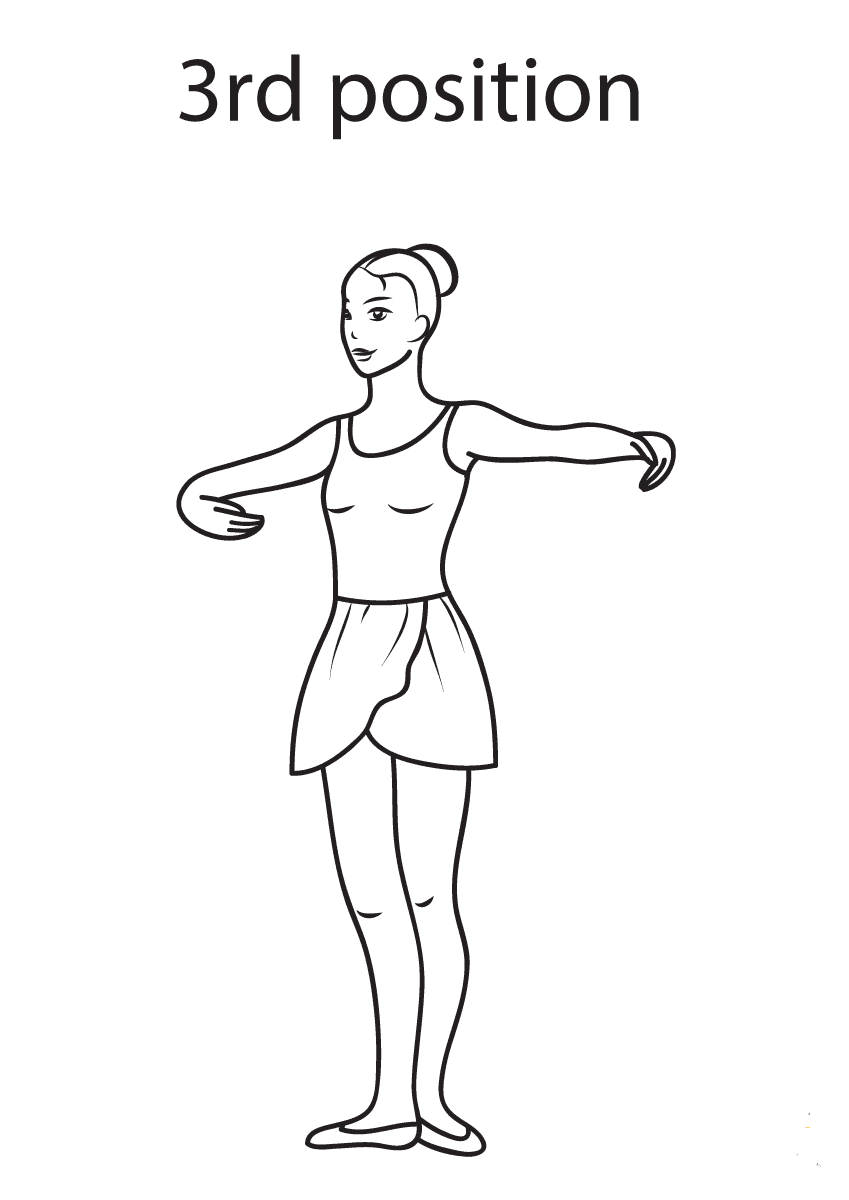 Ballet 3rd Position Coloring Page