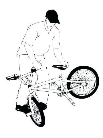 Biker With Bike Coloring Page