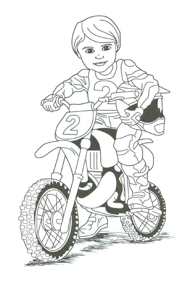 Boy On Dirt Bike Coloring Page