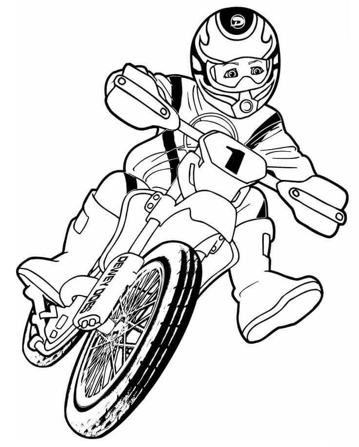 Dewey Does On Dirt Bike Coloring Page