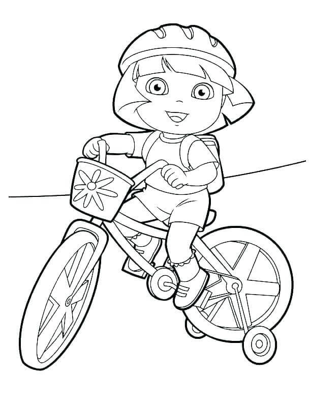 Dora On Dirt Bike Coloring Page