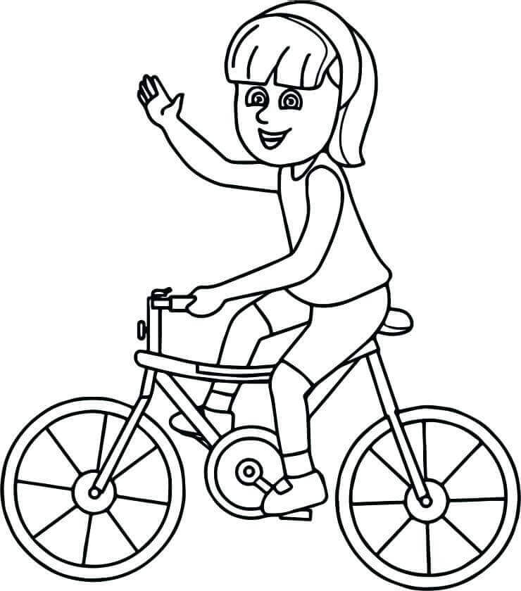 Girl On Dirt Bike Coloring Page