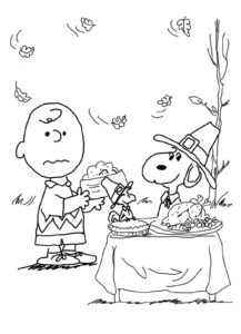 Charlie Brown And Snoopy Thanksgiving Coloring Pages