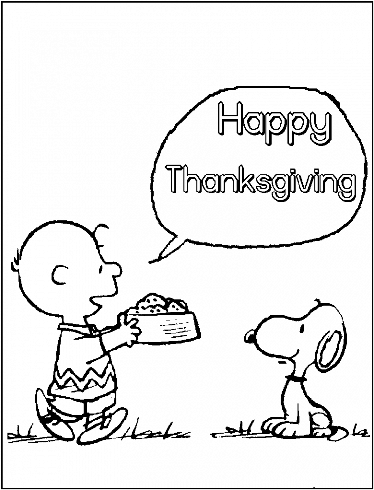 Charlie Brown Happy Thanksgiving Coloring Pages