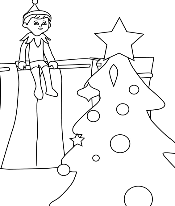 Christmas Elf On The Shelf Coloring Pages Printable