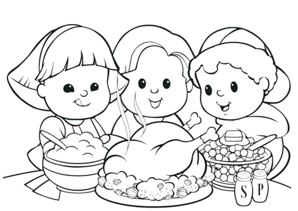 Cute Kids On Thanksgiving Coloring Sheet