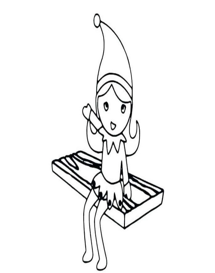 Elf On The Shelf Girl Coloring Page