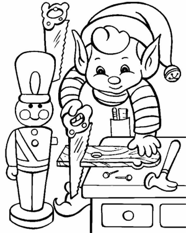 Elf On Work Coloring Page