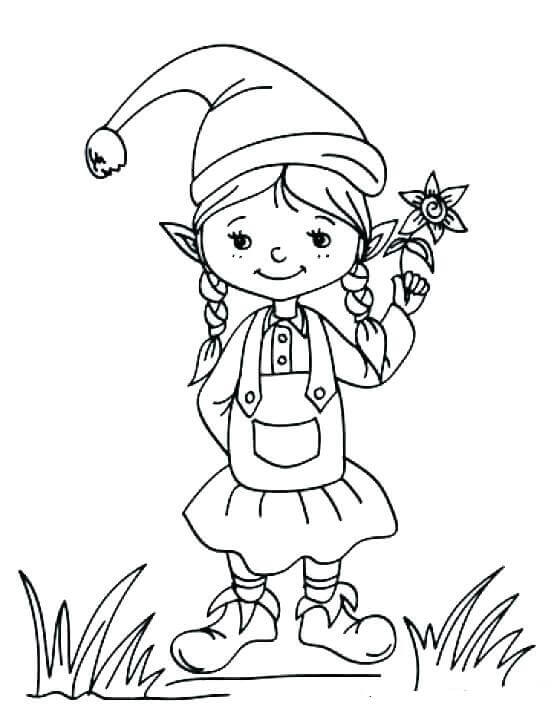 Female Elf On The Shelf Coloring Pages