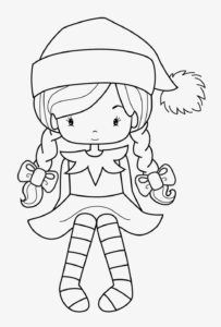Girl Dressed As Elf Coloring Page