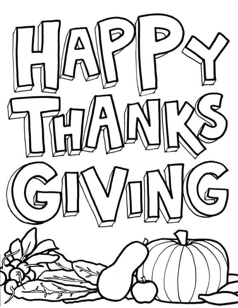Happy Thanksgiving Day Coloring Pages