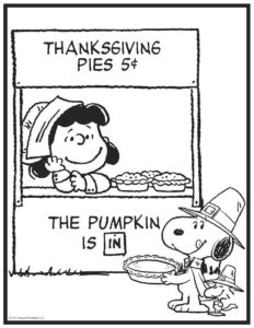 Peanuts Thanksgiving Coloring Pages