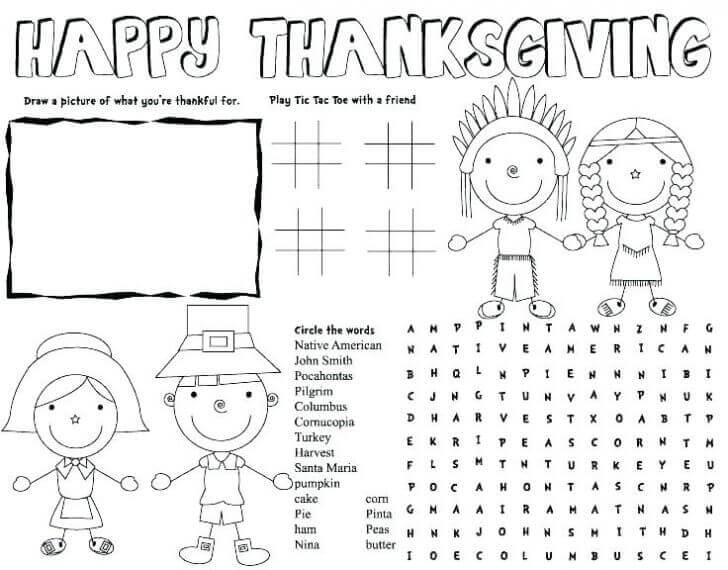 Thanksgiving 2018 Activity Sheet