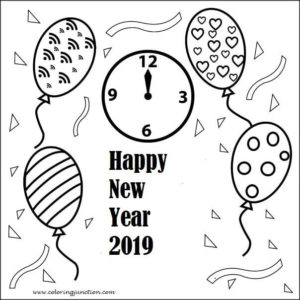 2019 Happy New Year Coloring Pages