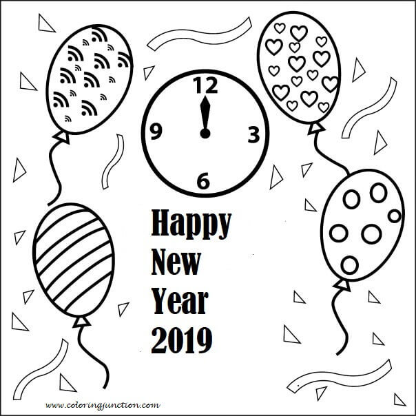 Free New Year 2019 Coloring Pages Printable Coloring Junction