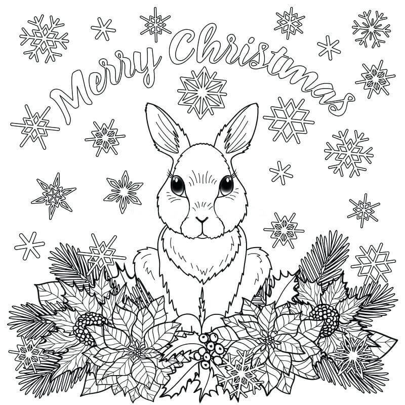 Bunny Wishing Happy Xmas Coloring Page
