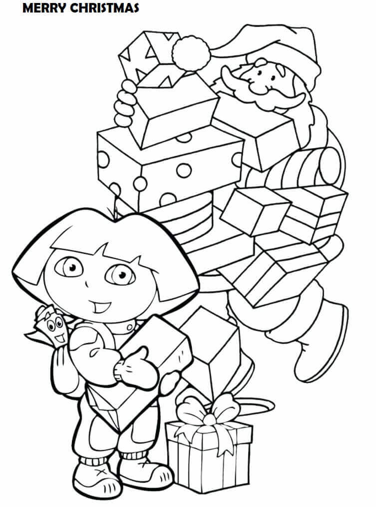 Dora Wishing Happy Christmas Coloring Sheet