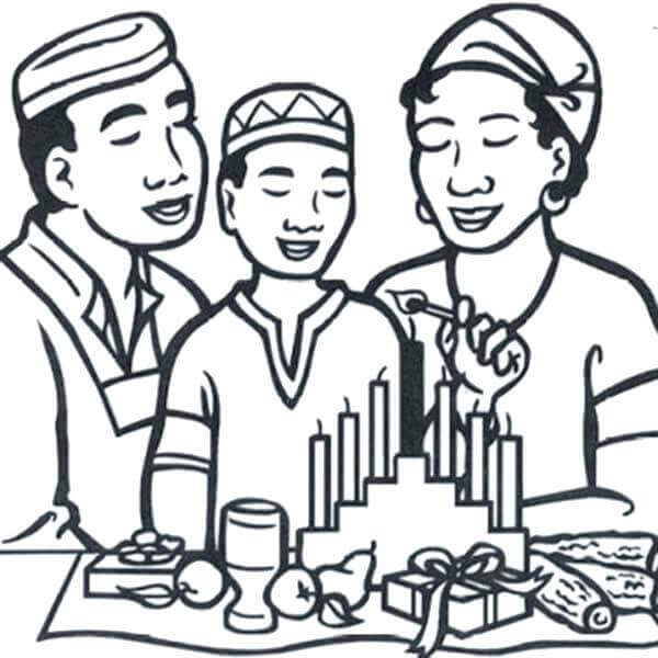 Family Celebrating Kwanzaa Coloring Page