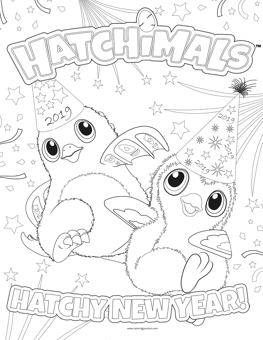 Hatchimals Wishing New Year 2019 Coloring Page