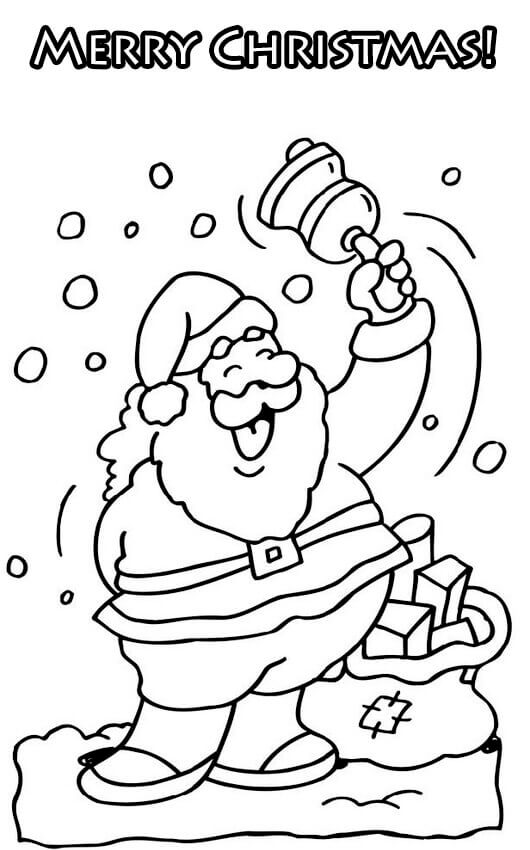 Jolly Santa Singing Merry Xmas Coloring Sheets