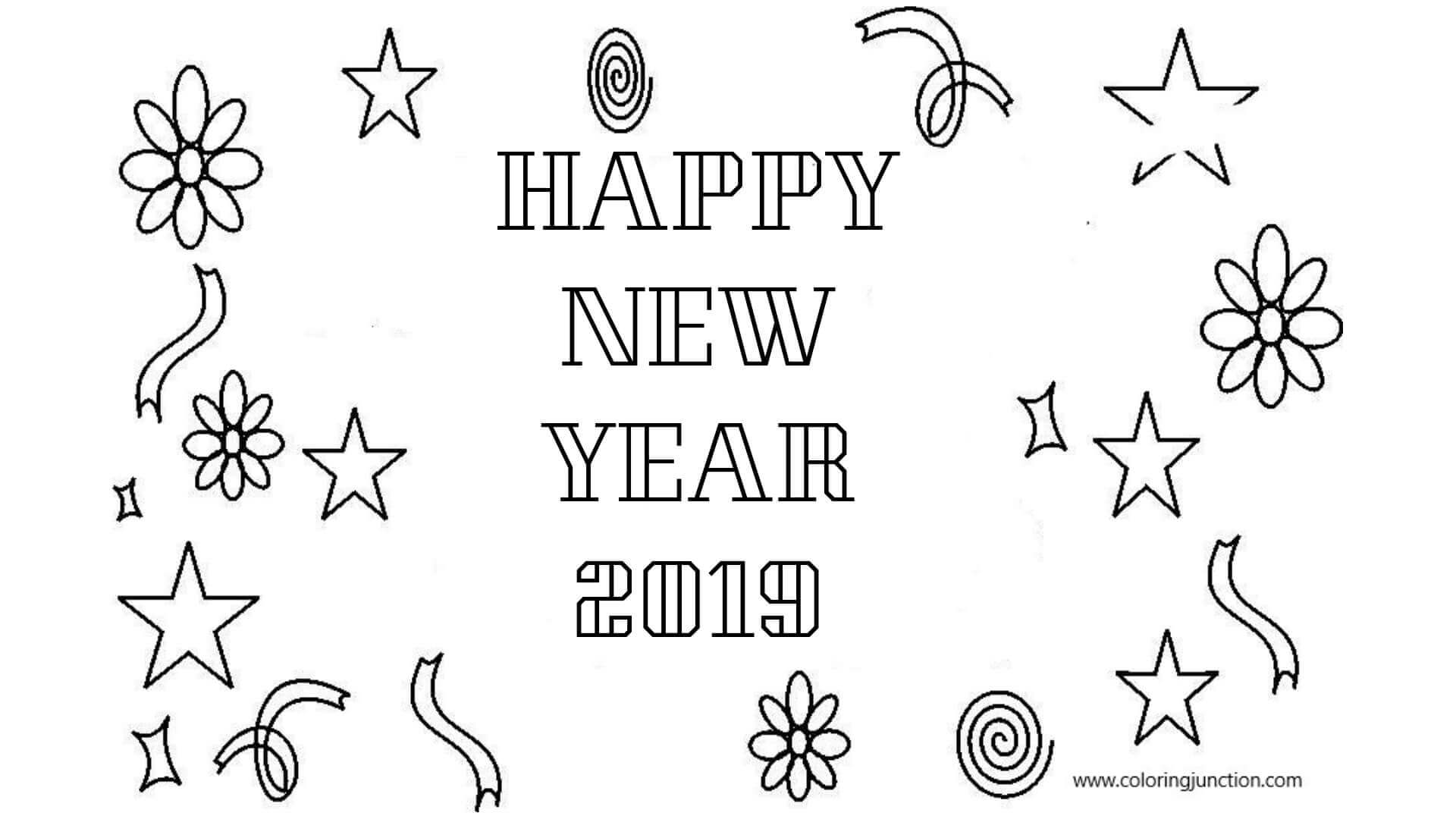 New Year 2019 Coloring Printables