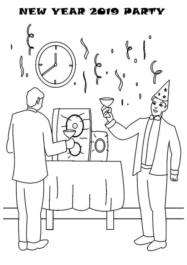 New Year Eve 2019 Coloring Pages