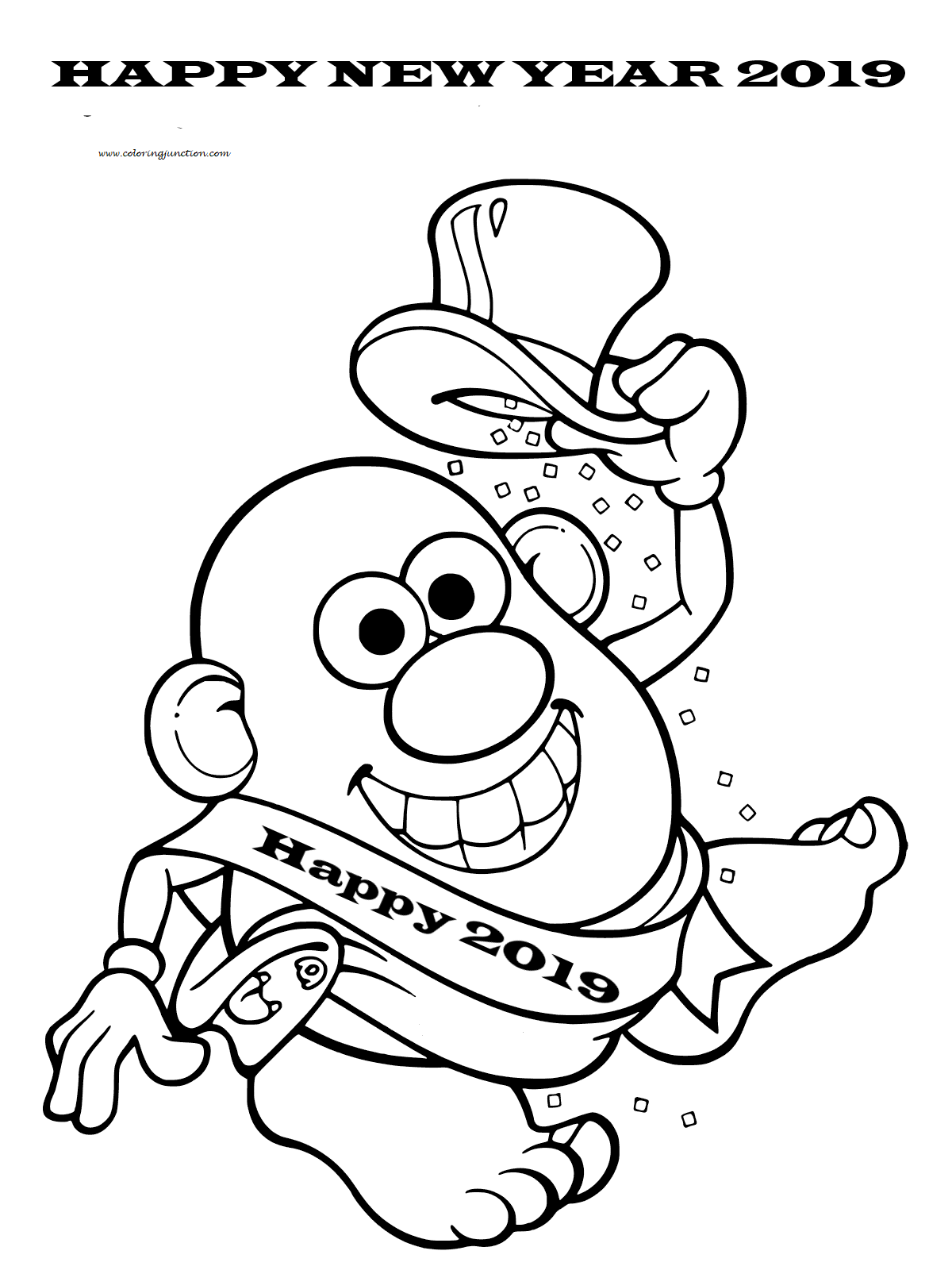 Potato Head New Year 2019 Coloring Page