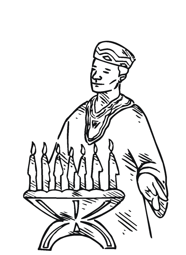 Priest On Kwanzaa Coloring Image