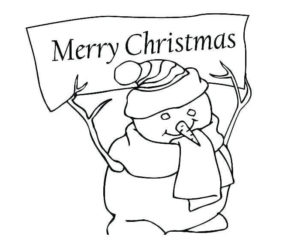 Snowman With Merry Christmas Card Coloring Page