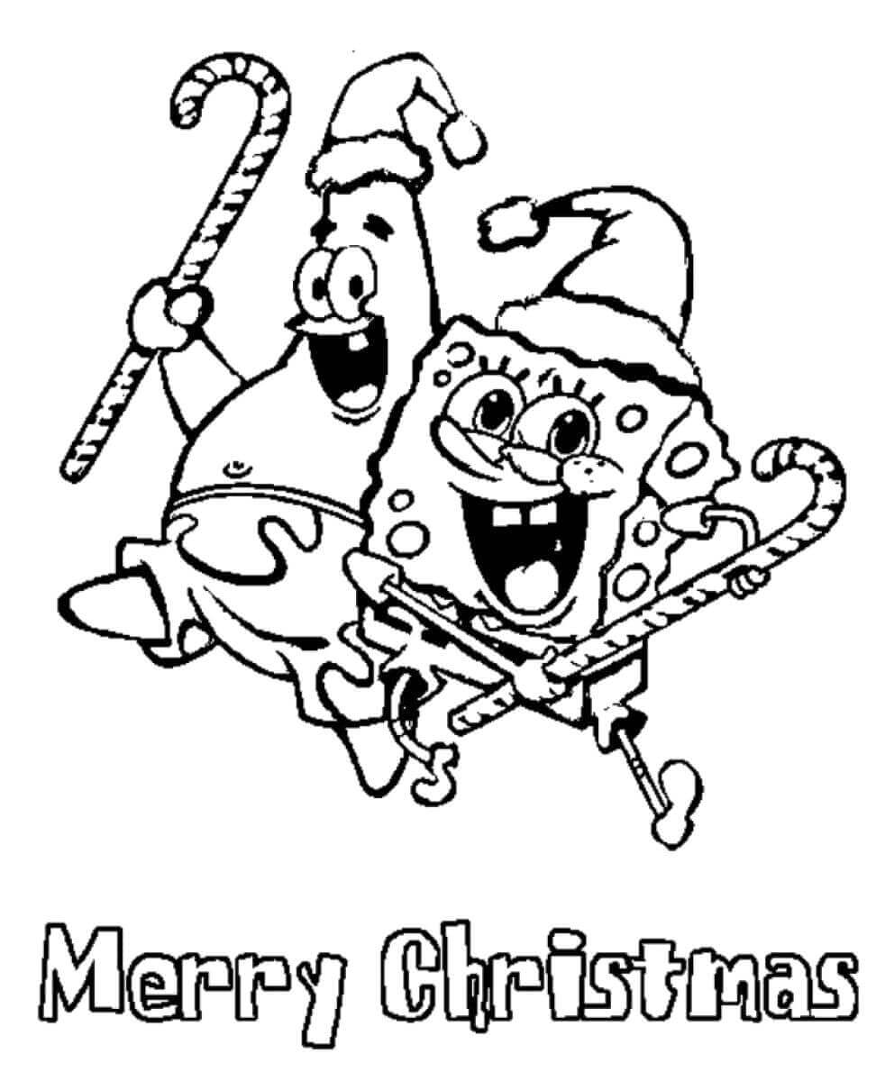 Spongebob Wishing Merry Christmas Coloring Page