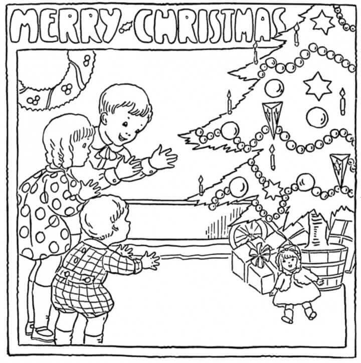 Vintage Merry Christmas Coloring Page Printable