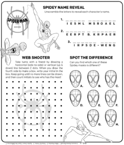 Spider Man Into The Spider Verse Activity Sheet