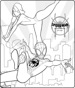 Spider Man Into The Spider Verse Coloring Sheets Free