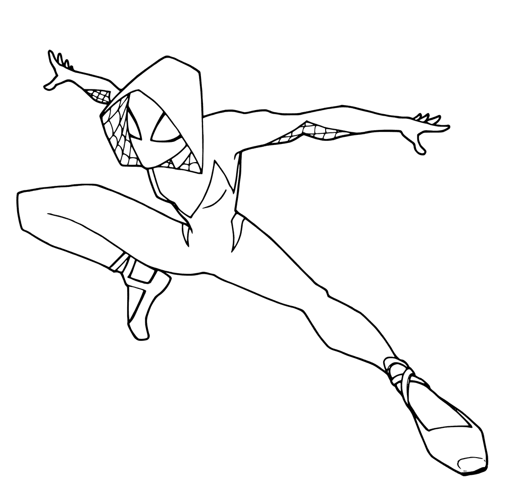 Spider Man Into The Spider Verse Gwen Coloring Page